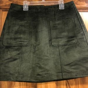 Olive Green Suede ON mini skirt